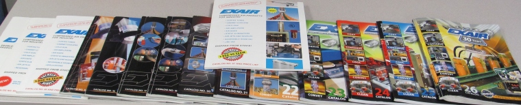 "A collection of EXAIR Catalogs, with ""Old # 97"" right there in the middle (we don't really call it that)"