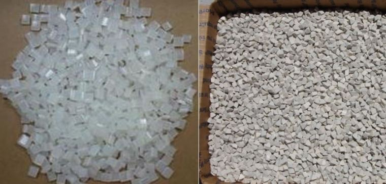 Left: hot-melt glue pellets.  Right: tumbling media