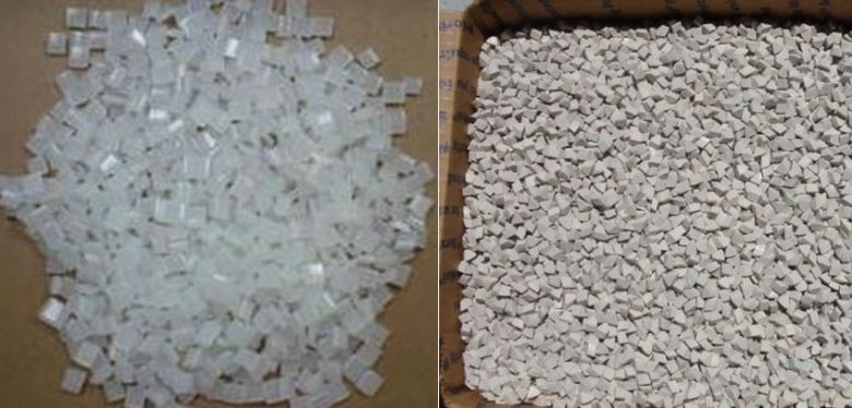 Left: hot-melt glue pellets.  Right: tumbling media