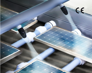 The Model 1104-PEEK Super Air Nozzle blows off solar panels during assembly inspection.