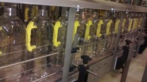 Plastic bottles on conveyor