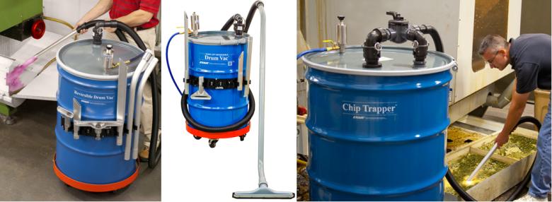 Reversible Drum Vac, High Lift Reversible Drum Vac, Chip Trapper