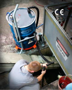 EXAIR's High Lift RDV makes cleaning out pits up to 15' deep easy and fast.