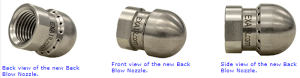 Various Views of the Model 1006SS Back Blow Nozzle