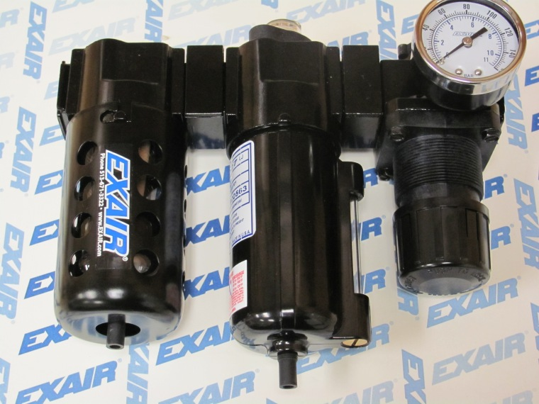 EXAIR Model 9027 Oil Removal Filter, installed between Model 9004 Filter Separator and 9008 Pressure Regulator, using our Modular Coupling Kits