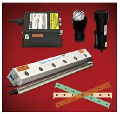 Super Ion Air Knife Kit includes Super Ion Air Knife, Power Supply, filter, regulator and shim set.