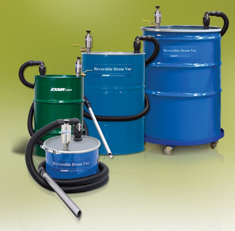 The EXAIR Reversible Drum Vac - four sizes to choose from; tools & accessories to fit your needs.