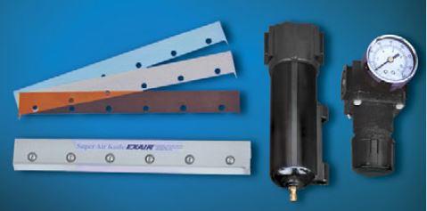 Super Air Knife Kits include a Shim Set, Filter Separator, and Pressure Regulator.