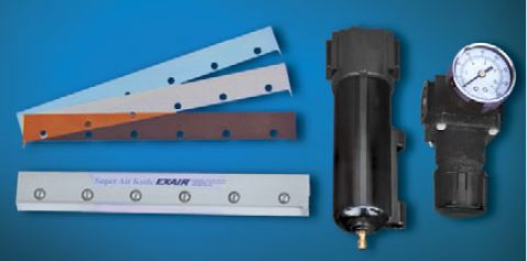Super Air Knife Kits include a Shim Set, Filter Separator, and Pressure Regulator.