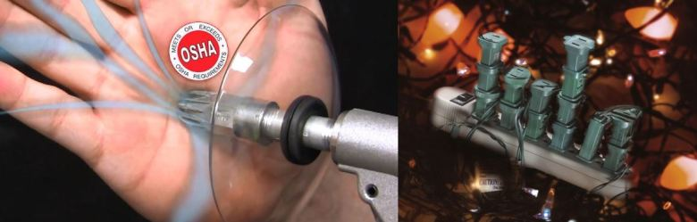 EXAIR Super Air Nozzles are fully OSHA Compliant - certificated available upon request (left.) Your power strip and Christmas tree light strands should both be labeled with their amperage ratings. Check these to make sure you don't overload the circuit (right.)