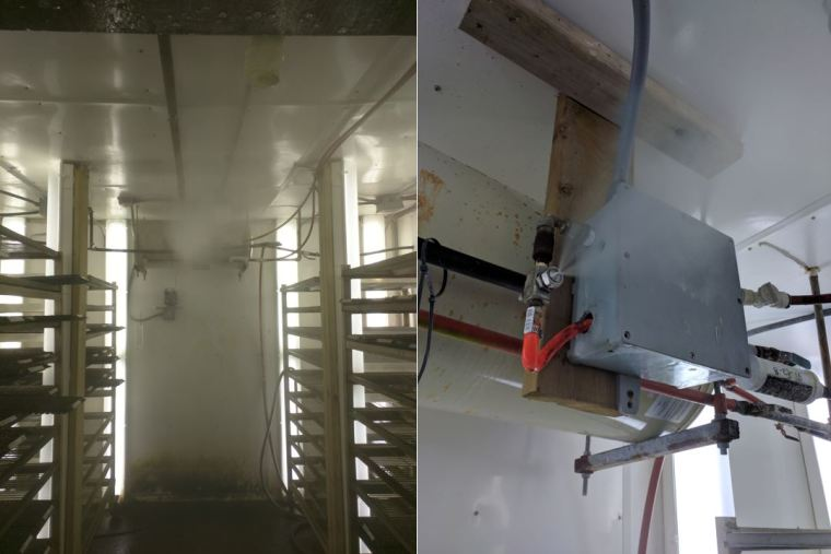 The fine, atomized mist (left) produced by the EXAIR AW1020SS (right) optimizes the seed germination in this chamber.